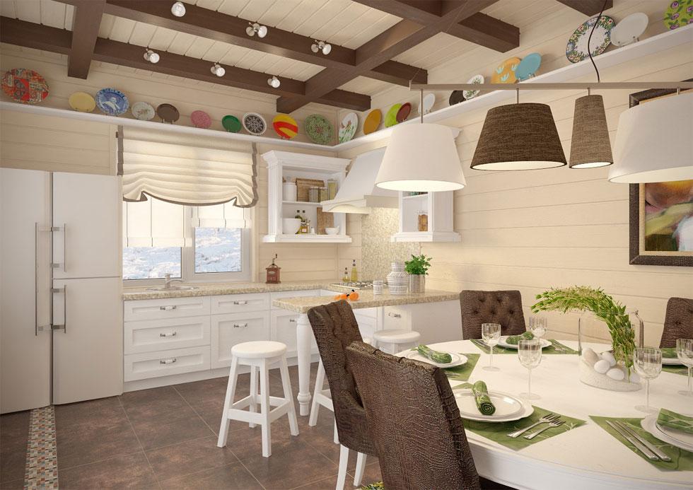 Дизайн кухни в брусовом доме фото 2015 современные идеи