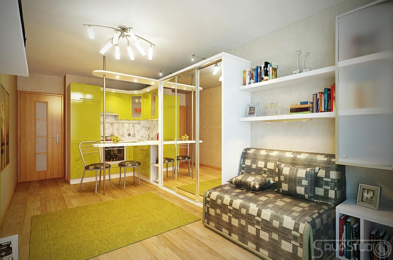 Интерьер в маленькой однокомнатной квартире фото