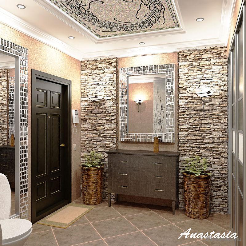 Дизайн прихожей камнем в квартире