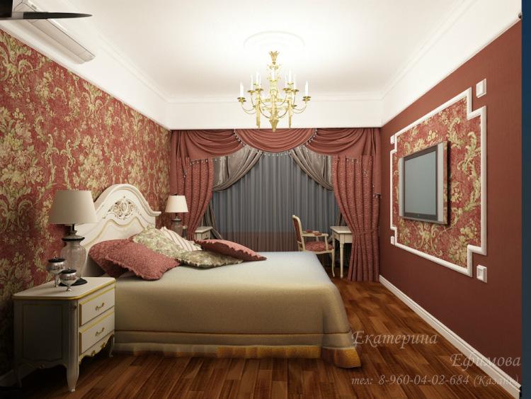 Дизайн комнаты с бордовыми обоями