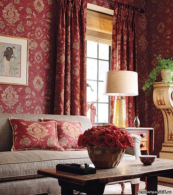 Дизайны комнат в бордовом цвете