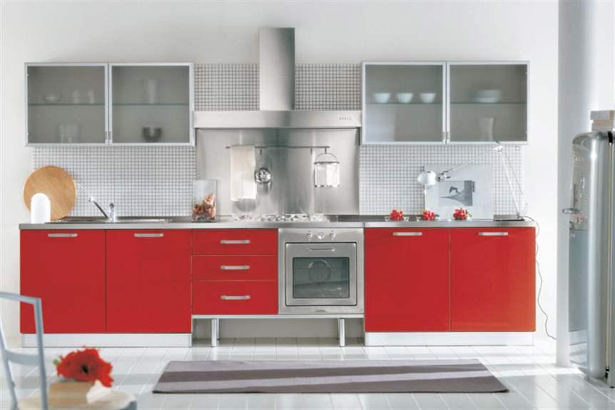 Дизайн кухни в красно серых тонах