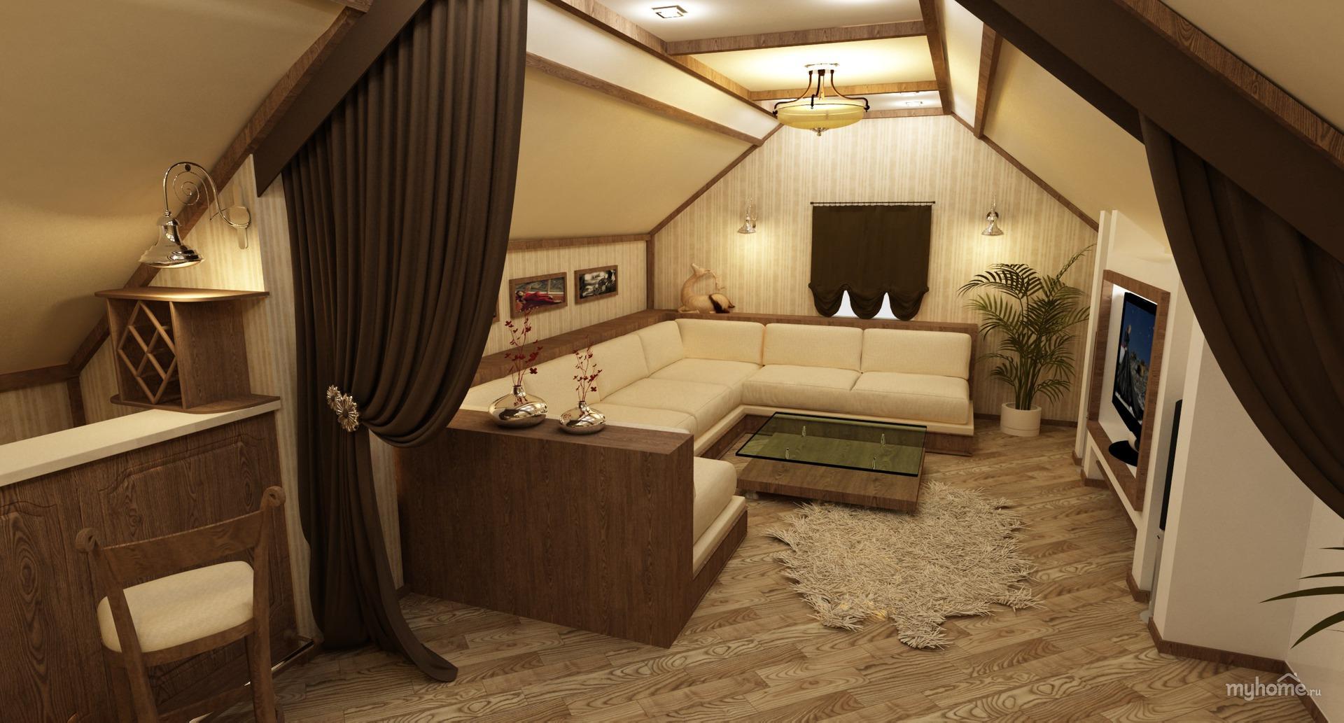 фото дизайн комнаты мансардного этажа дома
