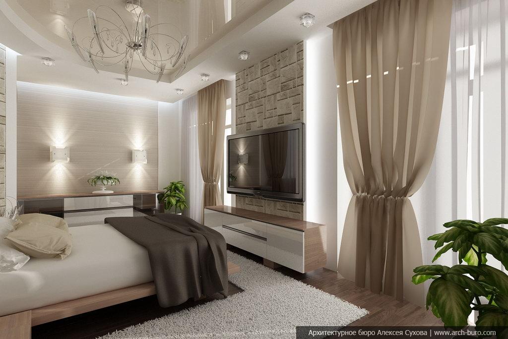 Интерьер коттеджа спальня