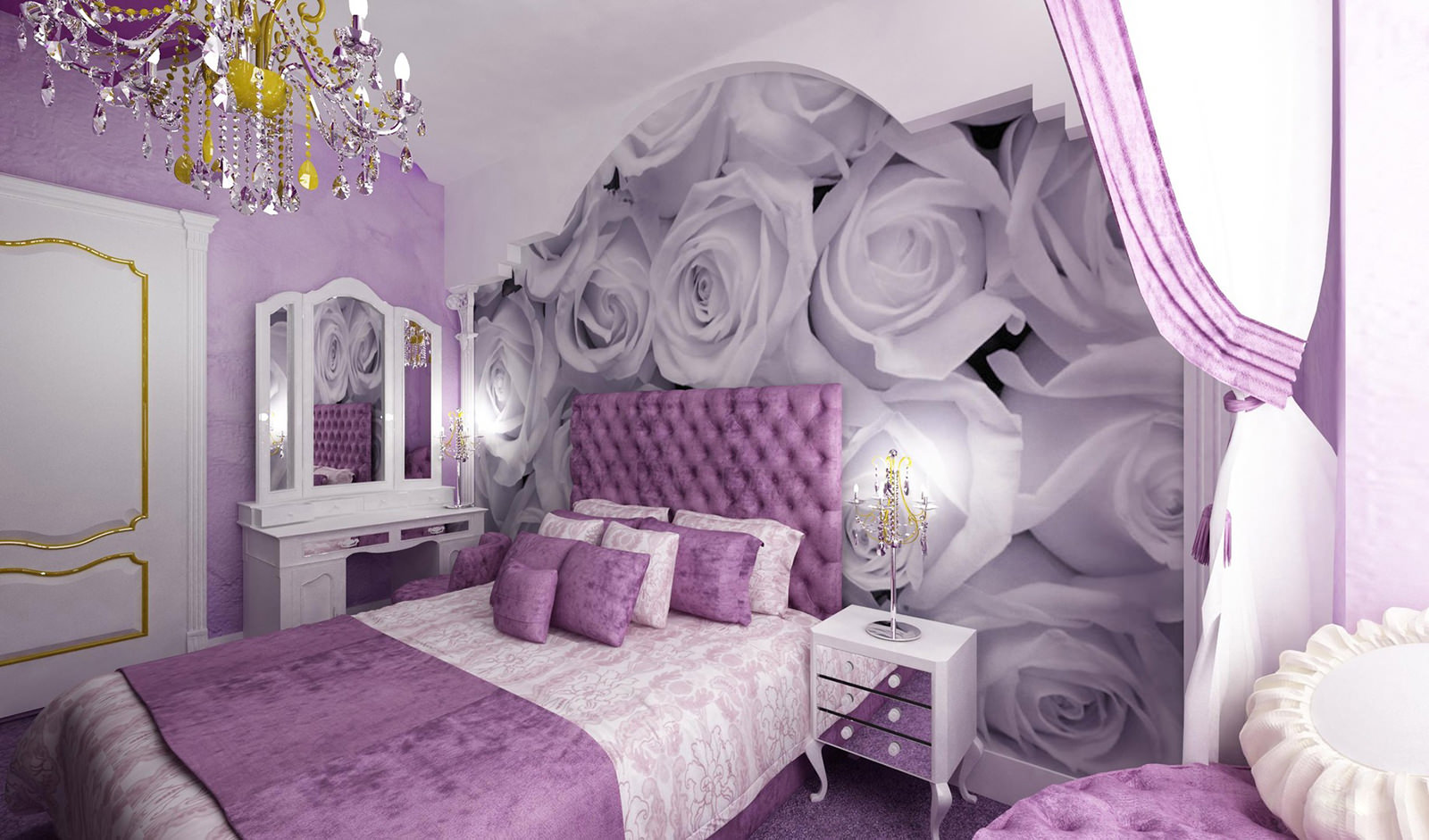 Сиреневые обои фото в интерьере спальни