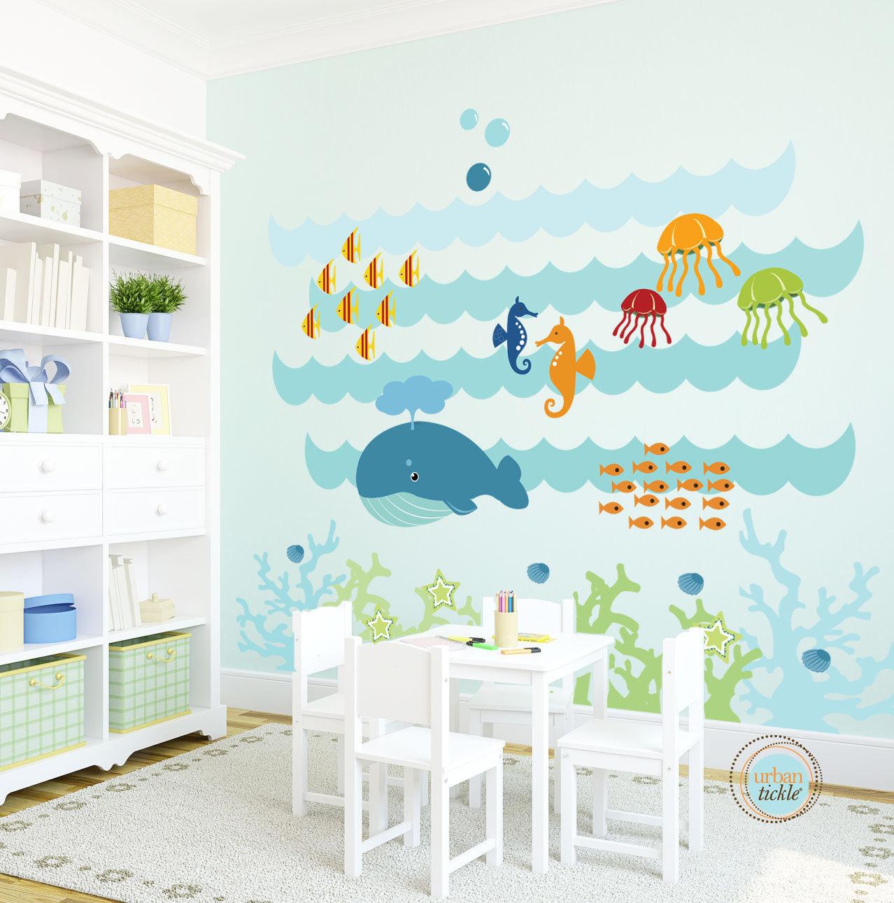 Роспись стен в детской в морском стиле