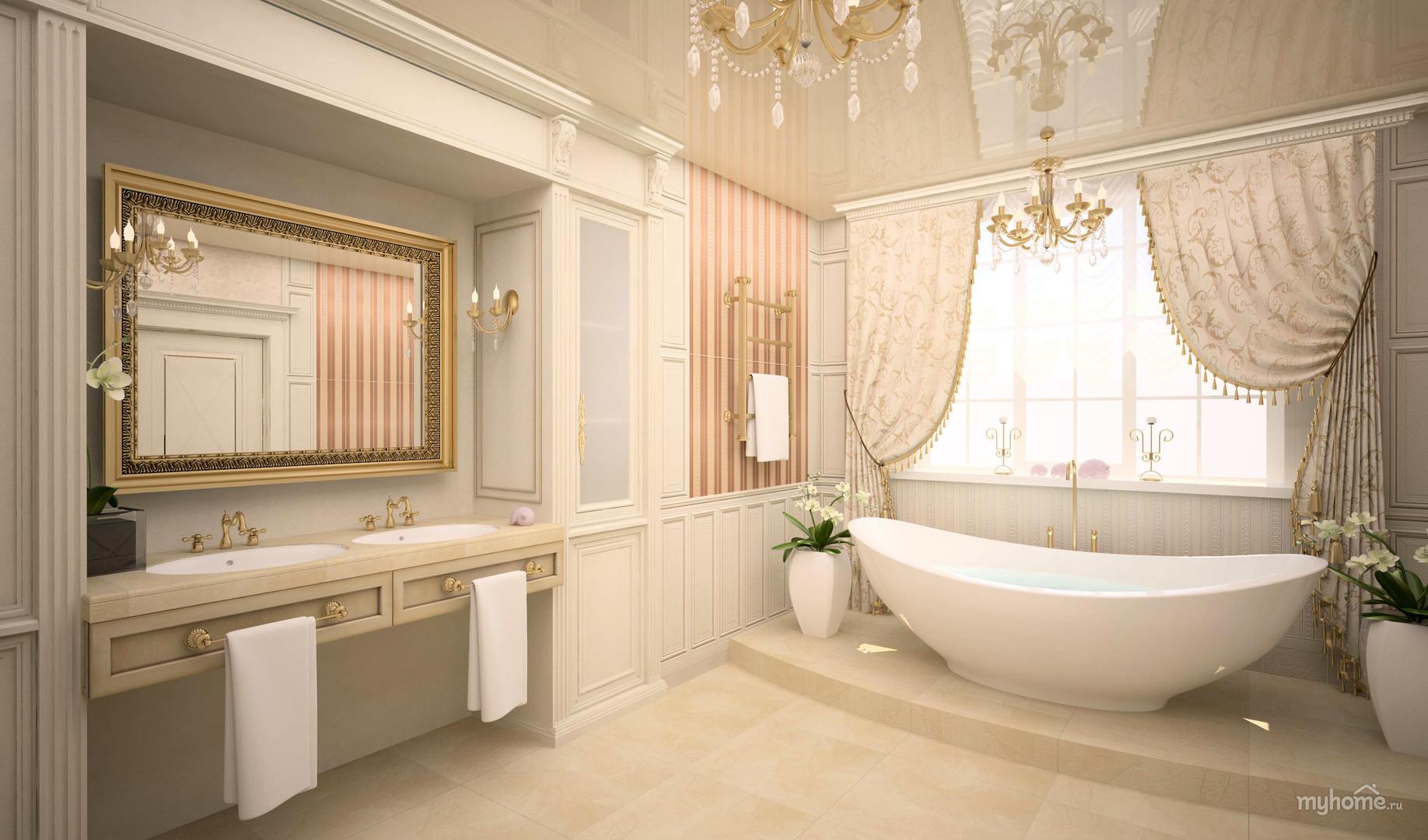 Дизайн ванной комнаты в частных домах