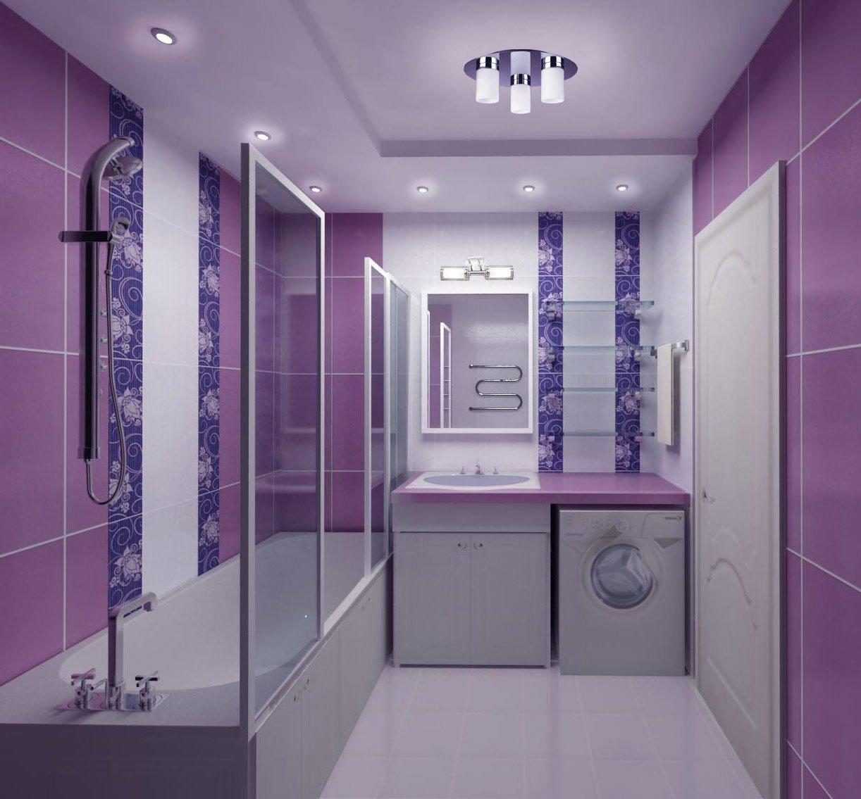 Дизайн ванны в фиолетовых тонах