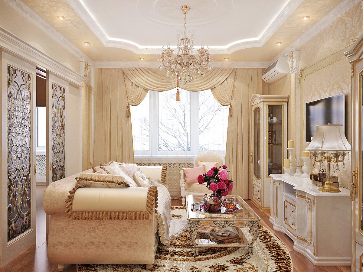 Гостиная в классическом стиле в загородном доме фото