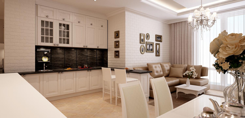 Интерьеры кухни гостиной в светлых тонах фото