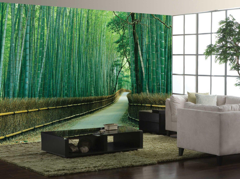 Обои рисунок бамбук в интерьере фото