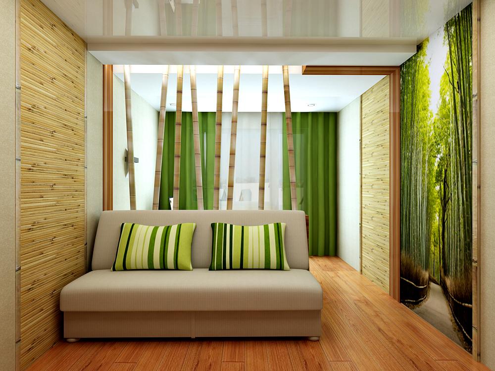Дизайн комнат с бамбуковым обоями