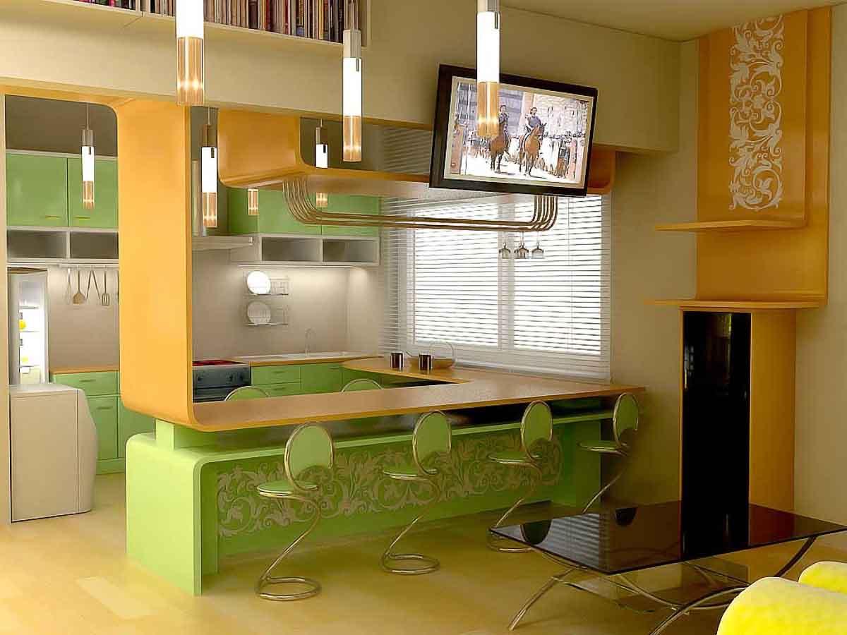Дизайн кухни-студии в маленькой квартире