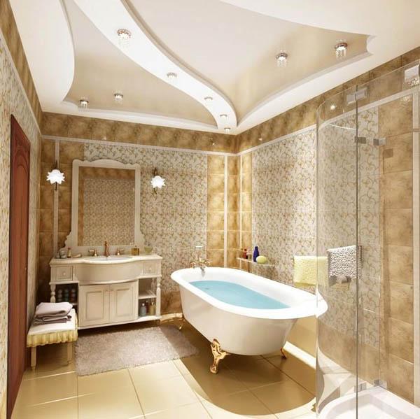 Дизайн отделки потолков ванн