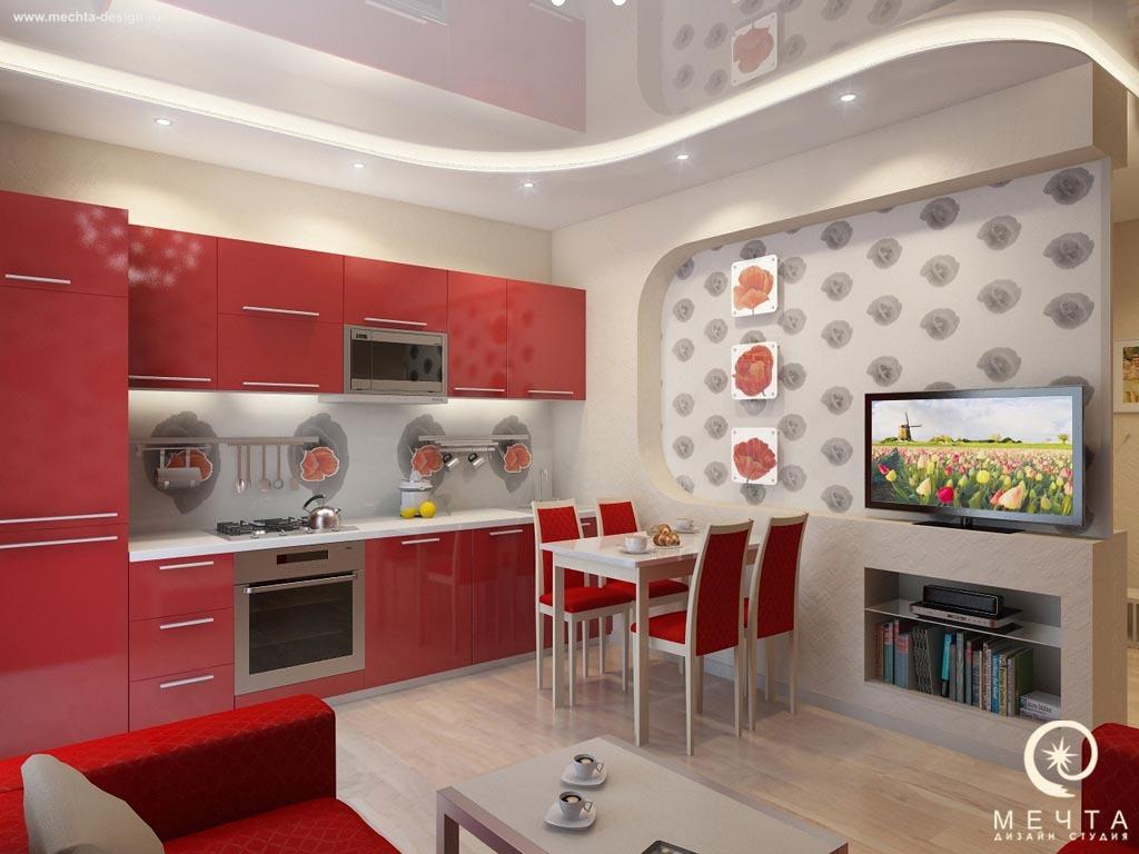 Кухня с красными маками фото