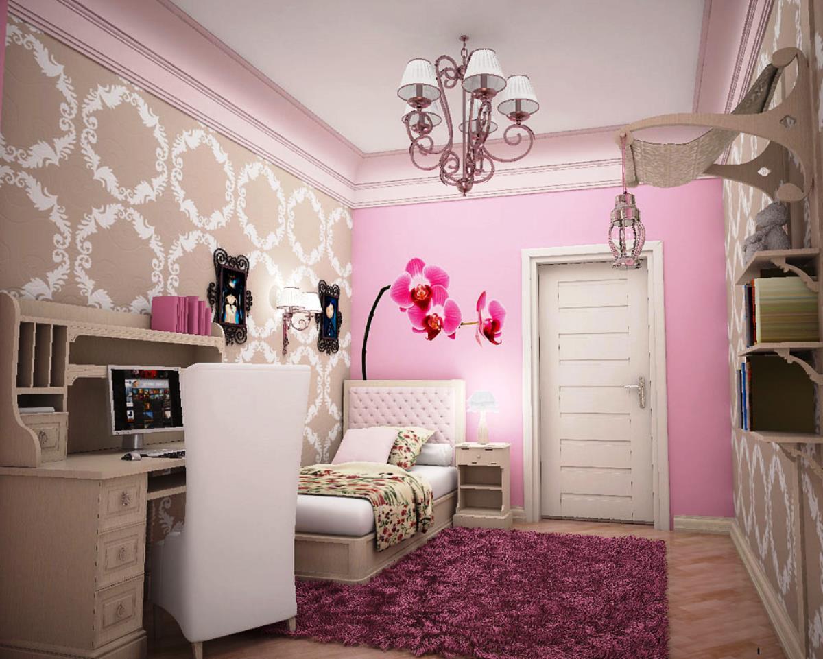 Нежно розовые обои в интерьере