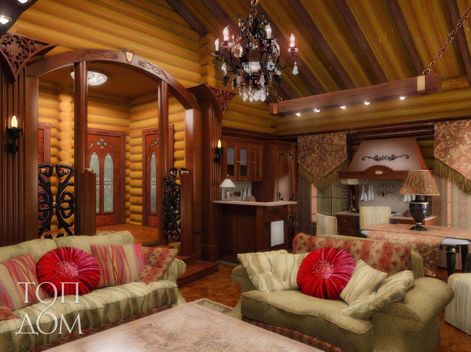 Дизайн интерьера гостиной в деревянном доме фото