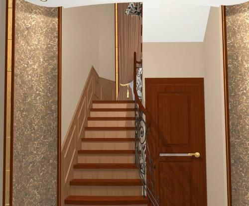 Узкая прихожая с лестницей в частном доме дизайн