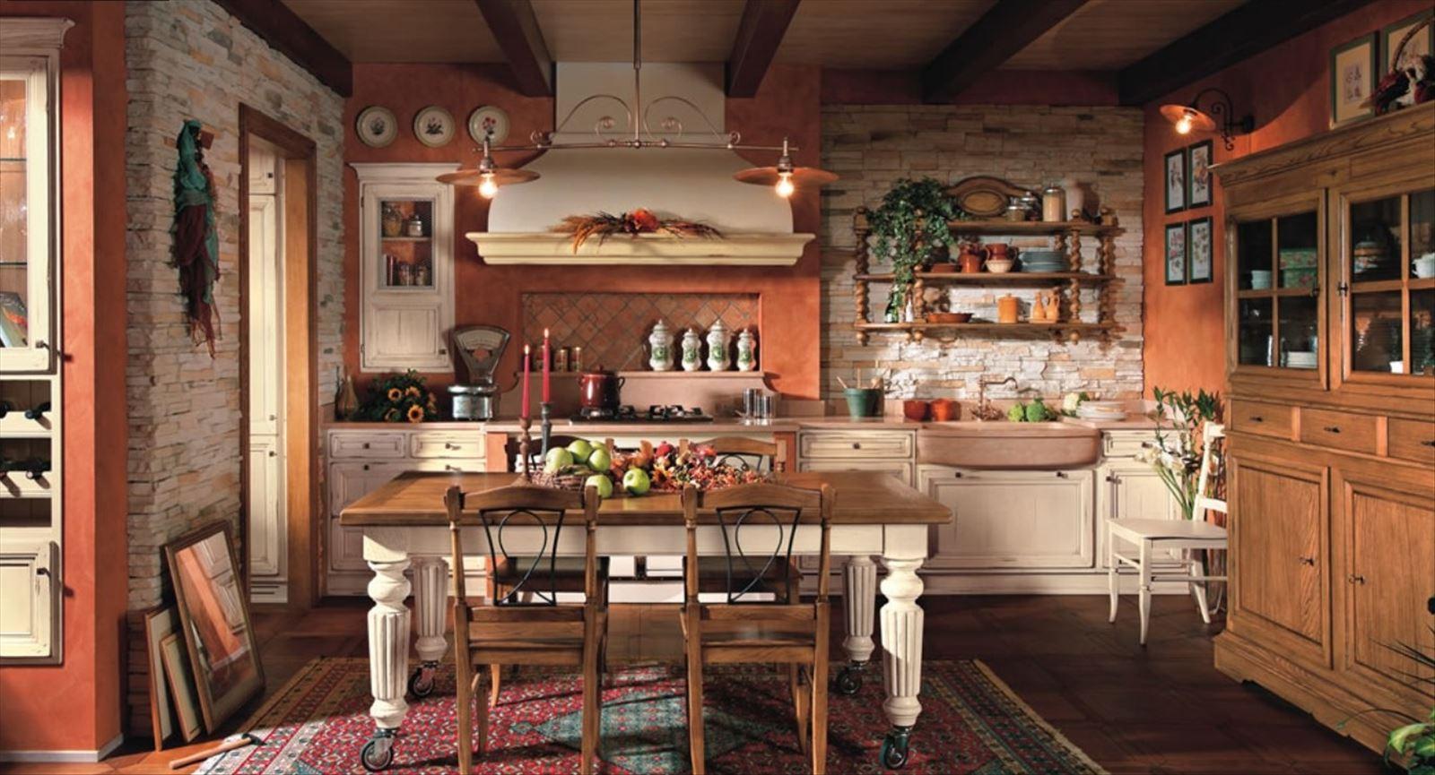 Сельский интерьер на кухне 157