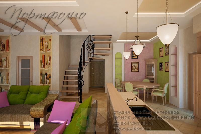 Дизайн кухни гостиной с лестницей на второй этаж