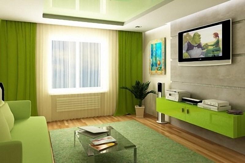 Дизайн в зале-в зеленом цвете