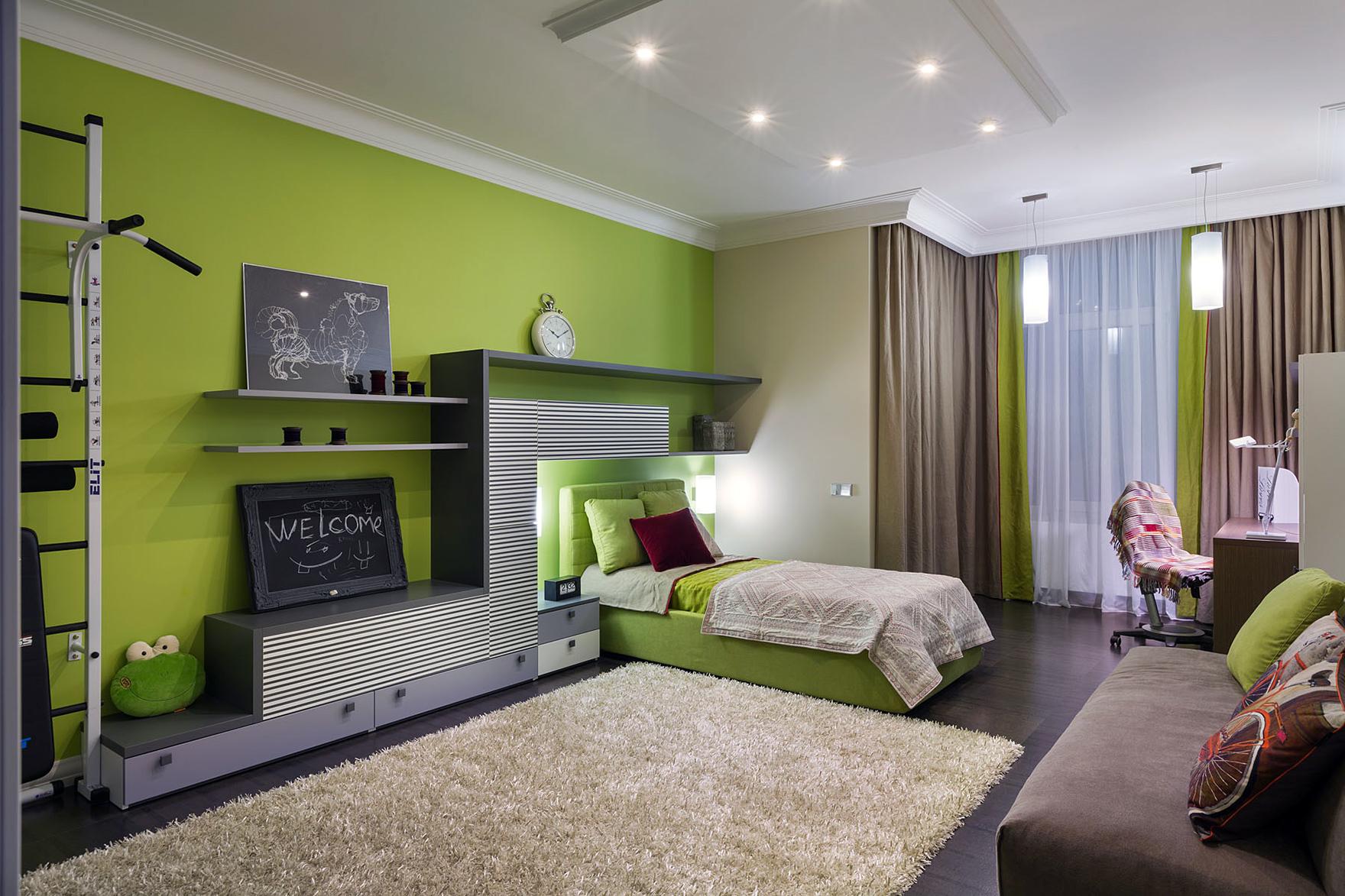 Фото дизайна комнаты в салатовом цвете