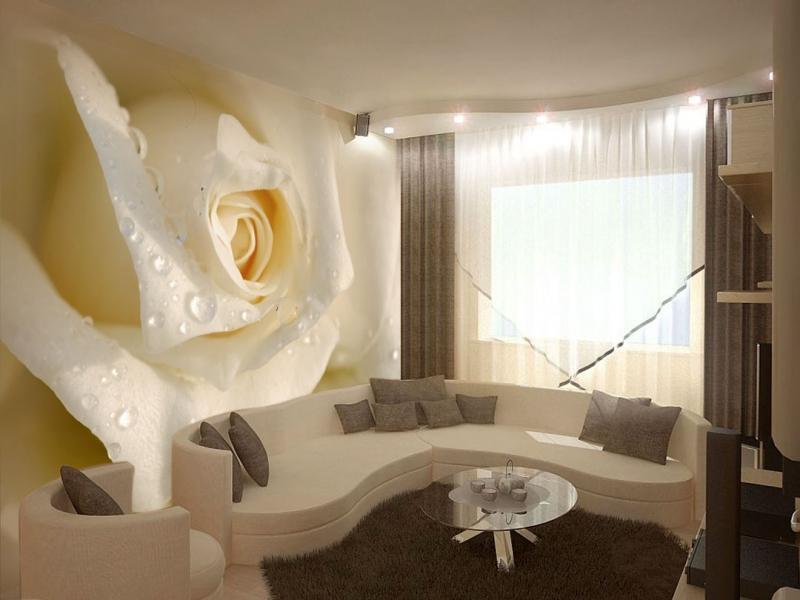 Белая роза в интерьере