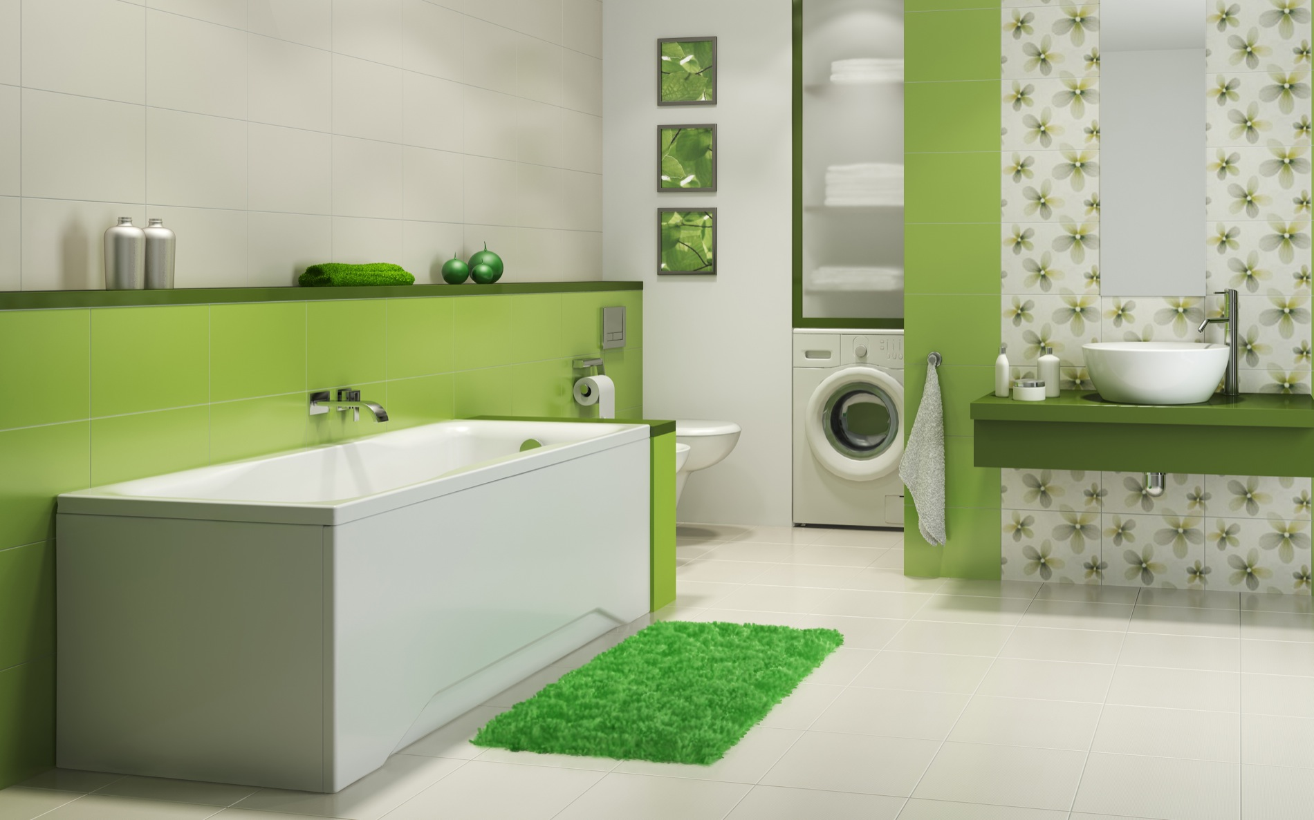 Ванная в двух цветах фото