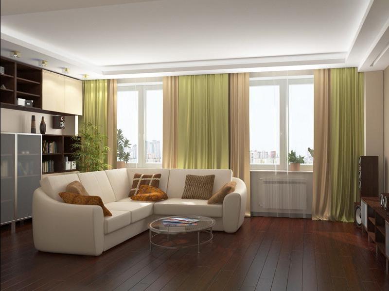Гостиные дизайн с двумя окнами