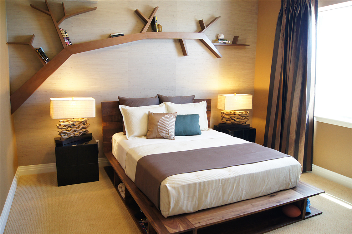 Полки настенные в спальню интересный дизайн