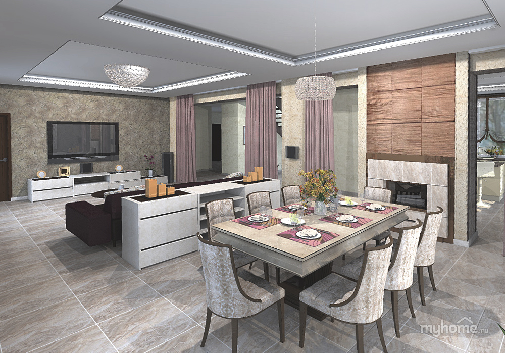 Интерьер гостиной кухни в загородном доме фото
