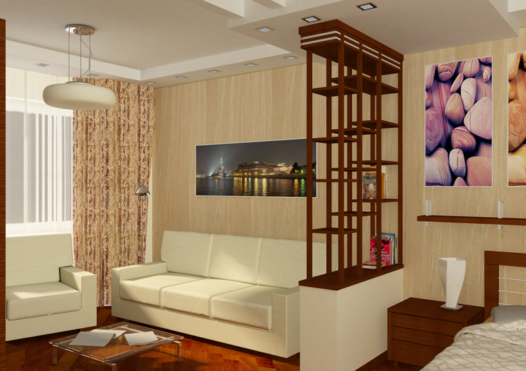 "Интерьер комнаты в однокомнатной квартире "" Картинки и фотографии дизайна квартир, домов, коттеджей"