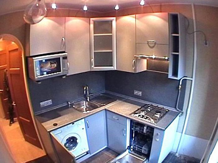 Встроенная кухня в хрущевке дизайн