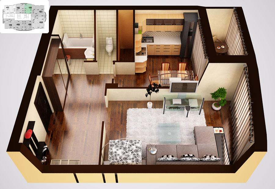 Квартира-студия 50 кв.м фото интерьер и планировка