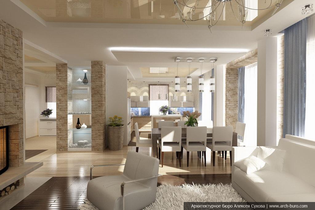 Интерьер совмещенной гостиной с кухней в коттедже фото