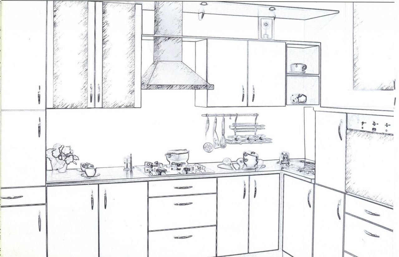 Дизайн кухни рисунки карандашом для