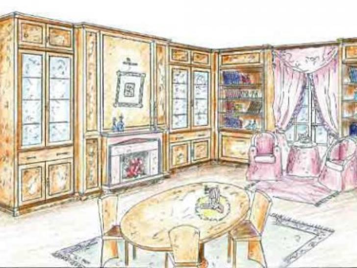 Нарисованный интерьер в доме