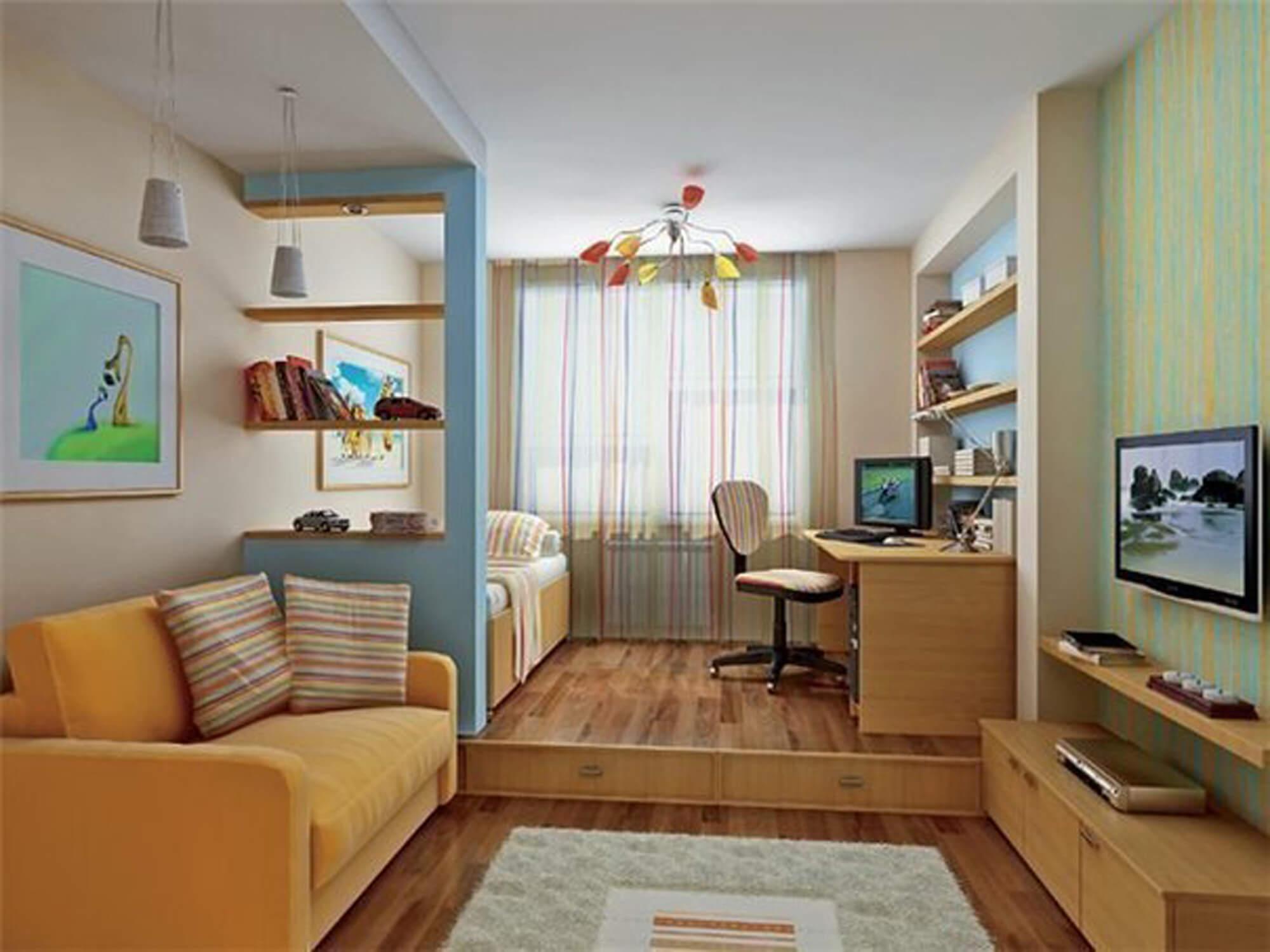 Дизайн однокомнатной квартиры с подростком фото