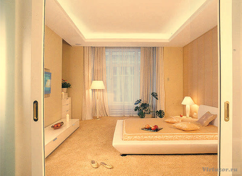 Дизайн комната 12 кв. м с балконом