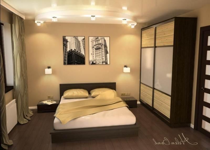 Дизайн спальни 14 кв м прямоугольная светлая