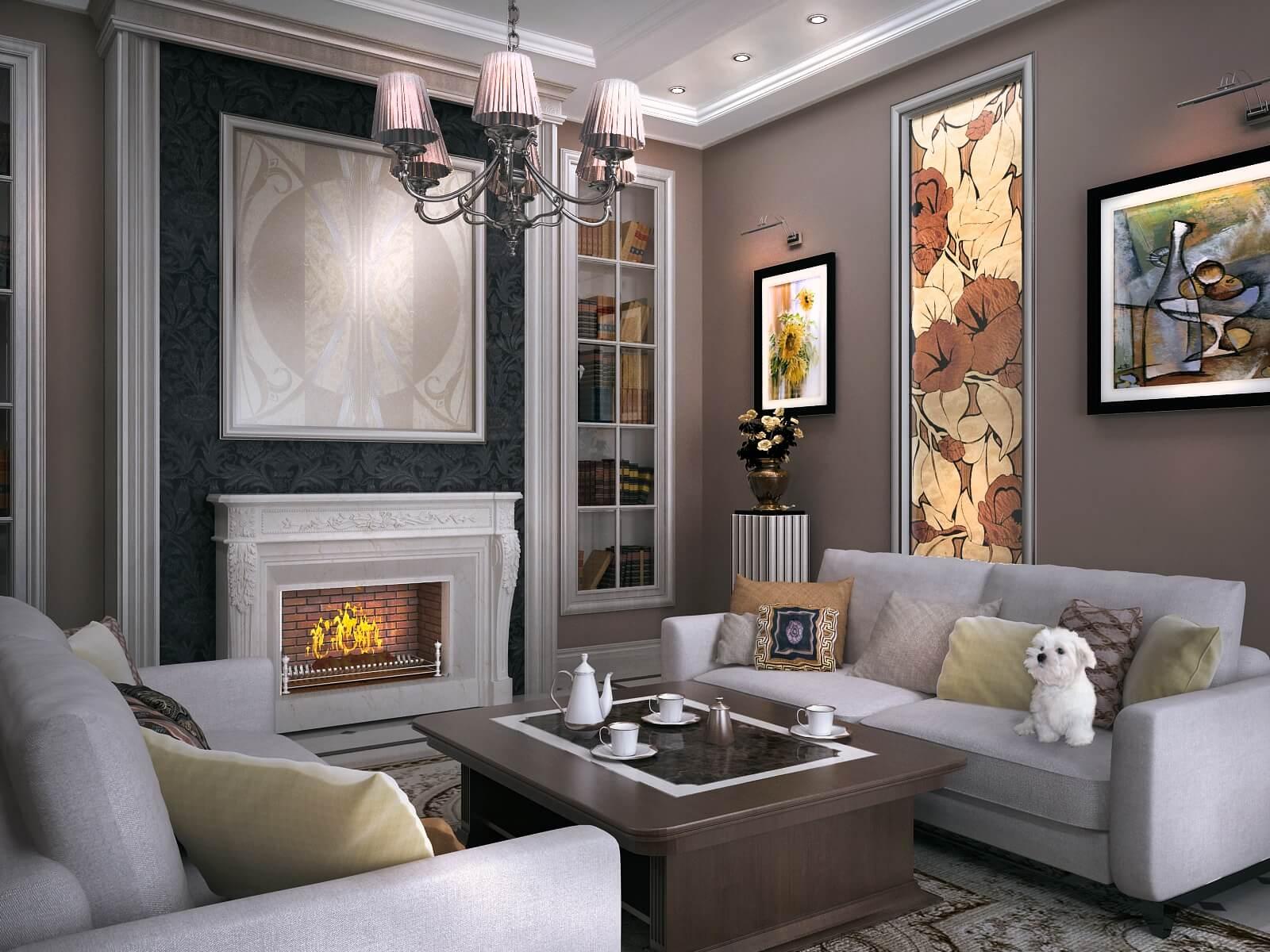 Кухня гостиная 27 кв м дизайн с камином