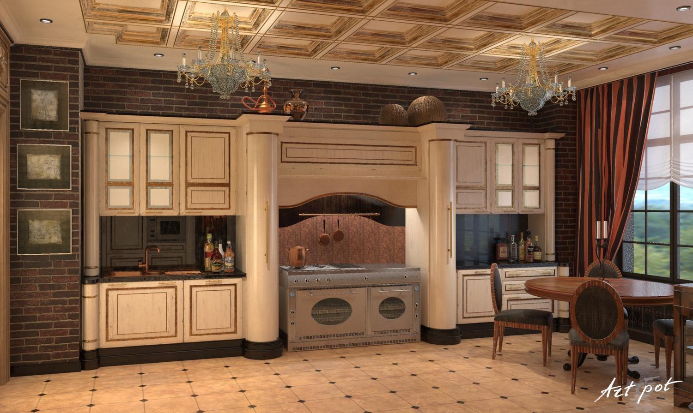 Интерьер в кухни загородном доме фото