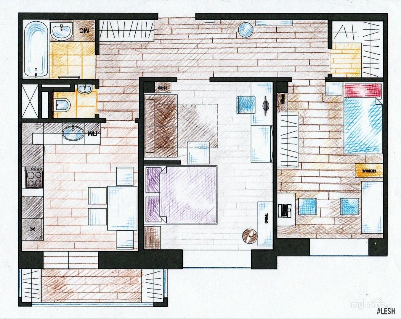 Дизайн проект 2 комнатной квартиры 60 кв.м