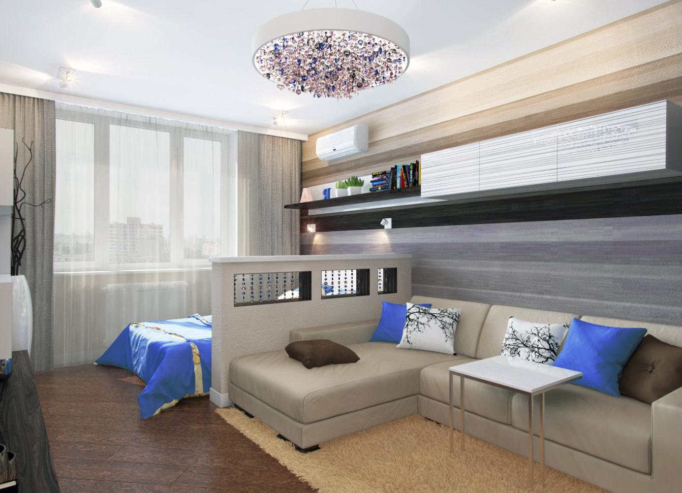 Интерьер фото гостиная-спальня