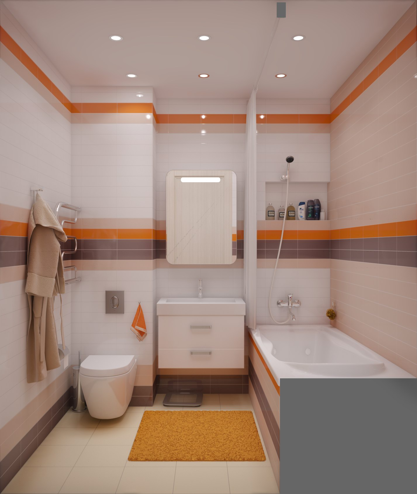 Дизайн ванной комнаты совмещенной