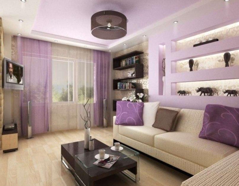 Сиреневая гостиная, дизайн интерьера, в сиреневых тонах, сте.