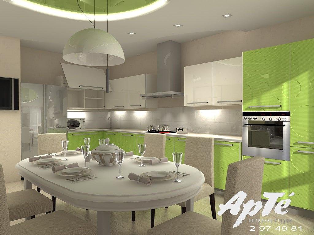 Зелено белые кухни дизайн 133