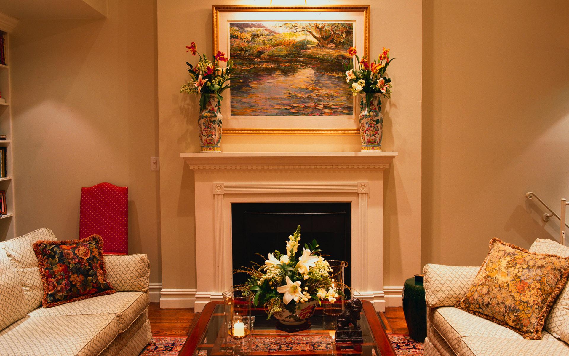 Интерьер гостиной фото с камином