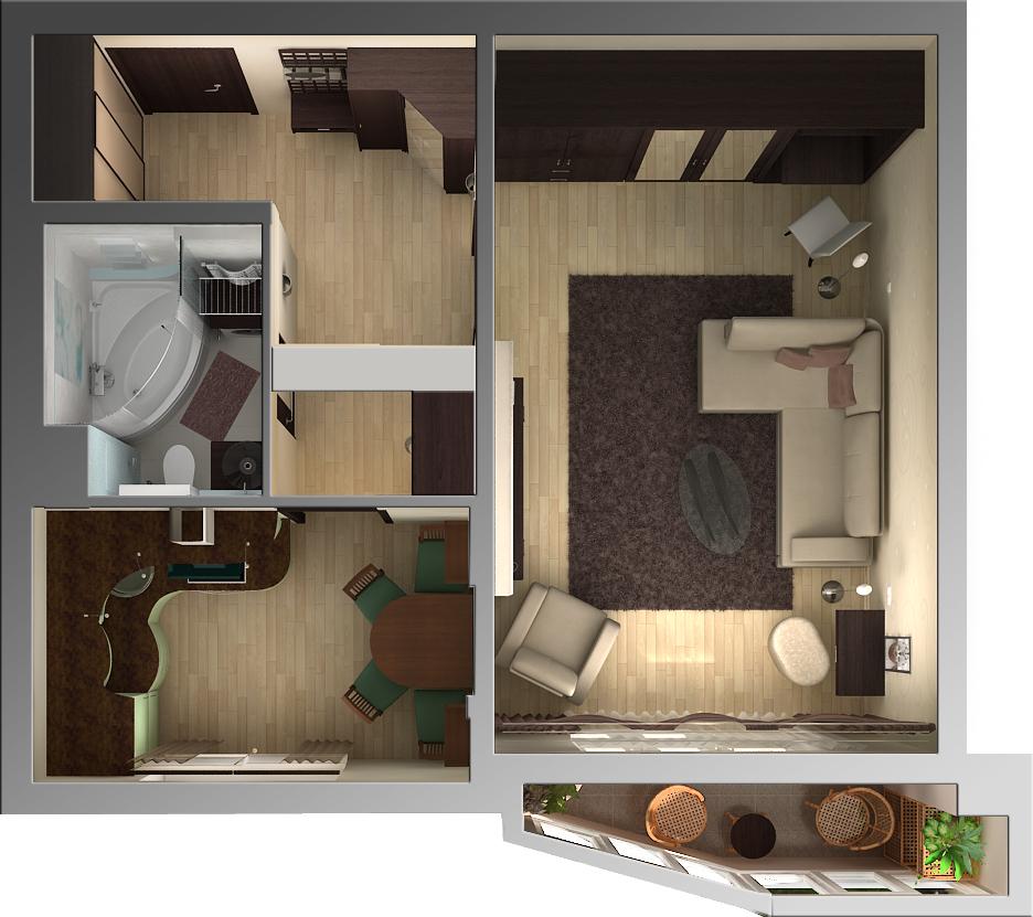 Дизайн однокомнатной квартиры стоимость 68