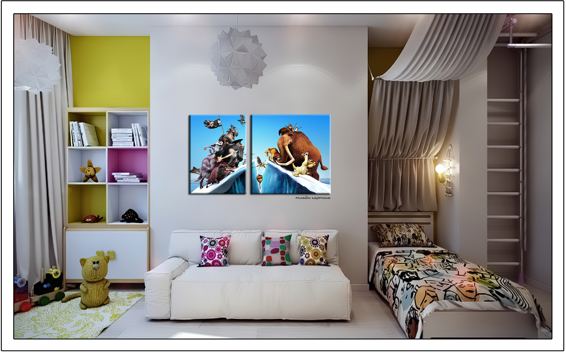 дизайн комнаты с диваном